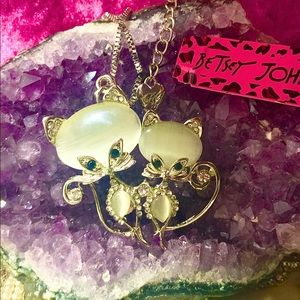 Betsey Johnson Love Cats Crystal Necklace